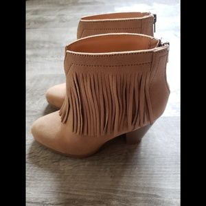Tan Fringe Booties